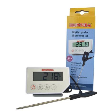 Termómetro digital con sonda y caja